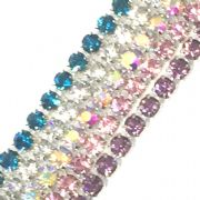 2mm Diamante Crystal Chain - various coloured crystals available